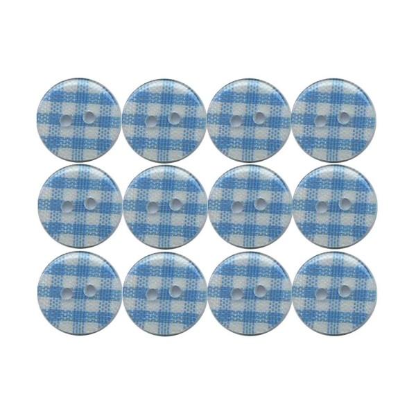 12 boutons en résine Vichy bleu clair 13 mm pour Scrapbooking ou Couture - Photo n°1