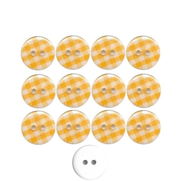 12 boutons en résine Vichy jaune 13 mm pour Scrapbooking ou Couture - Photo n°1