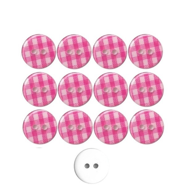 12 boutons en résine Vichy rose vif 13 mm pour Scrapbooking ou Couture - Photo n°1