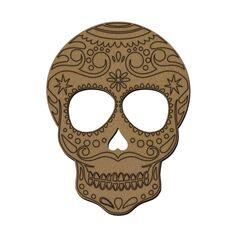 Tête de mort mexicaine en bois - 30 x 23 cm