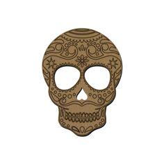 Tête de mort mexicaine en bois - 15 x 11 cm