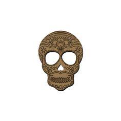 Tête de mort mexicaine en bois - 7 x 5 cm