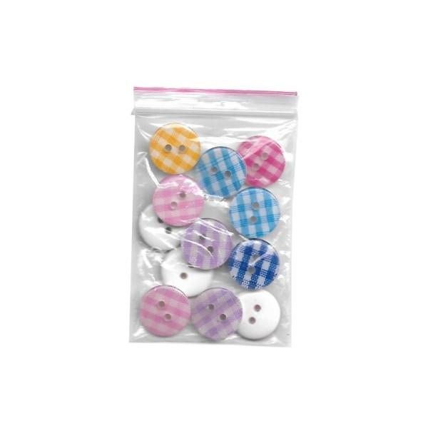 12 boutons en résine Vichy 2x6 couleurs 13 mm pour Scrapbooking ou Couture - Photo n°2