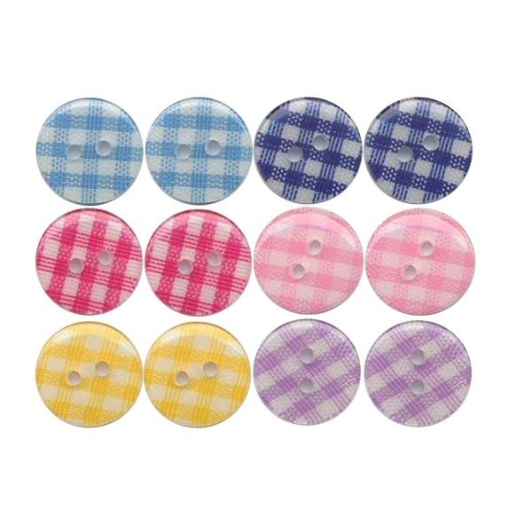 12 boutons en résine Vichy 2x6 couleurs 13 mm pour Scrapbooking ou Couture - Photo n°1