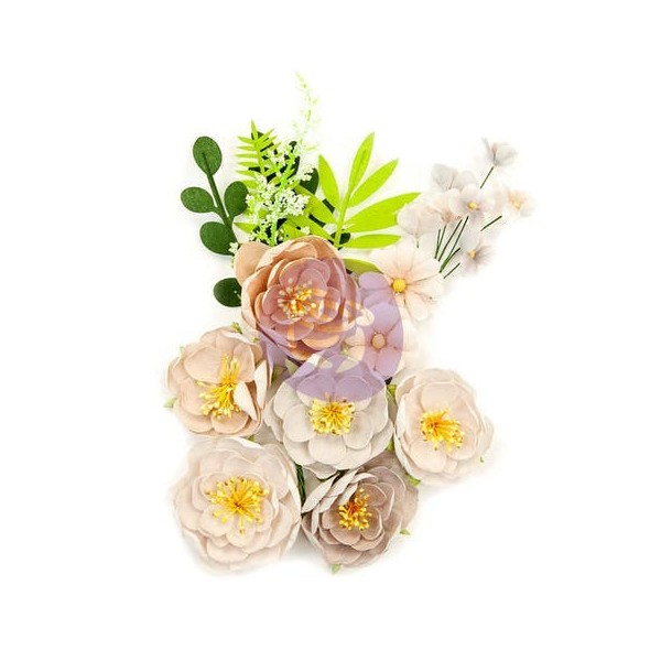 10 pièces fleur feuille en papier scrapbooking décoration PRIMA MARKETING 620 - Photo n°1