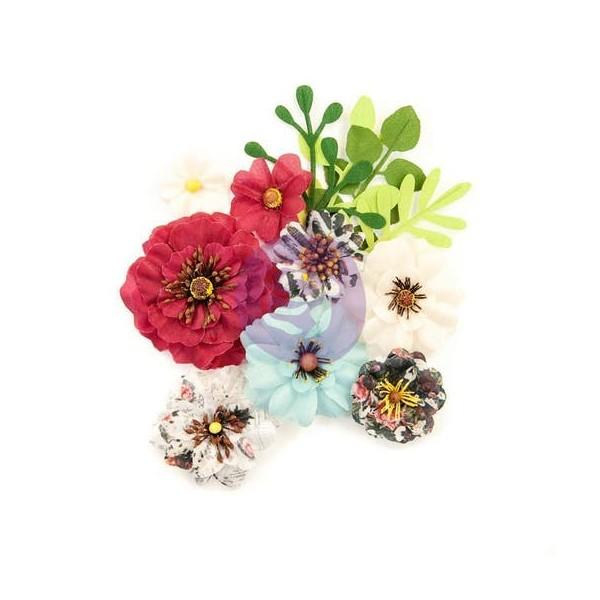 12 pièces fleur feuille en tissu scrapbooking décoration PRIMA MARKETING 934 - Photo n°1