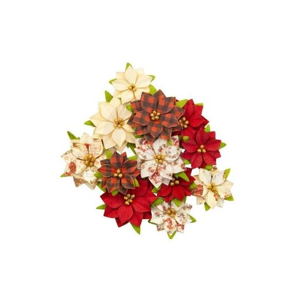 12 pièces fleur feuille en papier scrapbooking décoration PRIMA MARKETING 556 - Photo n°1