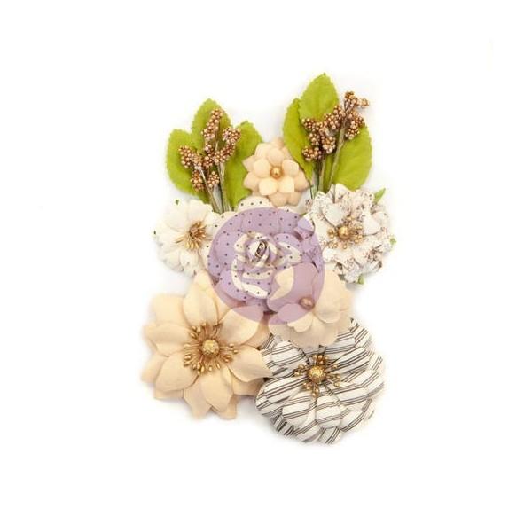 9 pièces fleur feuille en papier scrapbooking décoration PRIMA MARKETING 606 - Photo n°1