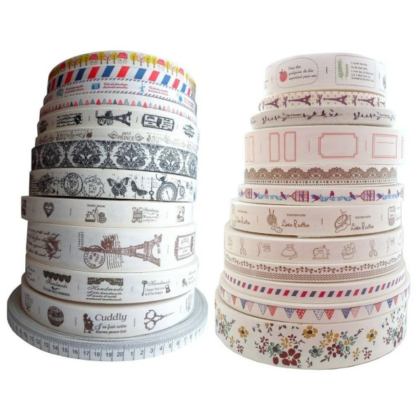 Ruban coton vintage imprimé au choix toile étiquette message shabby chic - Photo n°1