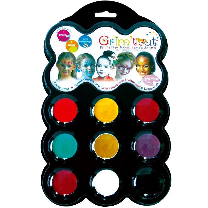 maquillage princesse 9 couleurs grim 39 tout sans paraben kit maquillage enfant creavea. Black Bedroom Furniture Sets. Home Design Ideas