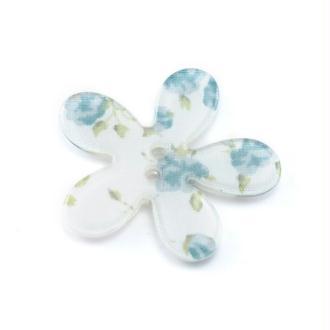 Lot de 3 perles bouton fleur en plastique imprimé liberty 30mm