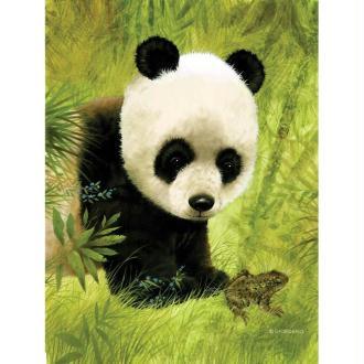 Image 3D Animaux - Panda et grenouille 24 x 30 cm