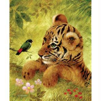 Image 3D Animaux - Tigre et oiseau 24 x 30 cm