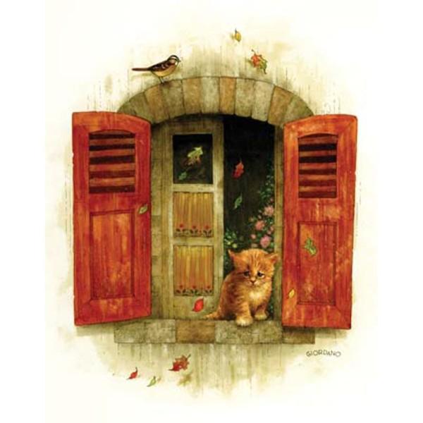 Image 3D Animaux - Chaton à la fenêtre 24 x 30 cm - Photo n°1