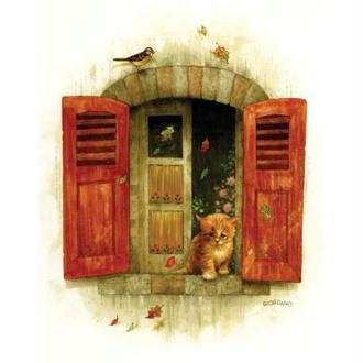 Image 3D Animaux - Chaton à la fenêtre 24 x 30 cm