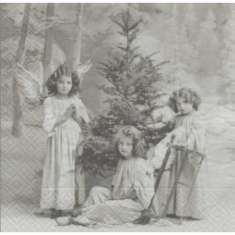 4 Serviettes en papier Anges de Noël Format Lunch