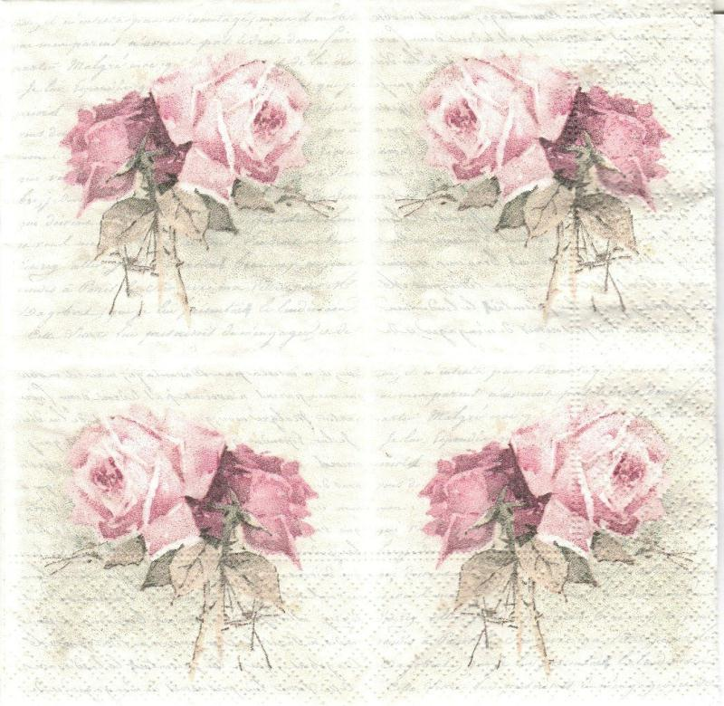 4 serviettes en papier rose po me petit format lunch serviette en papier vintage creavea. Black Bedroom Furniture Sets. Home Design Ideas