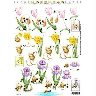 Carte 3D - Chiots et fleurs 21 x 29,7 cm