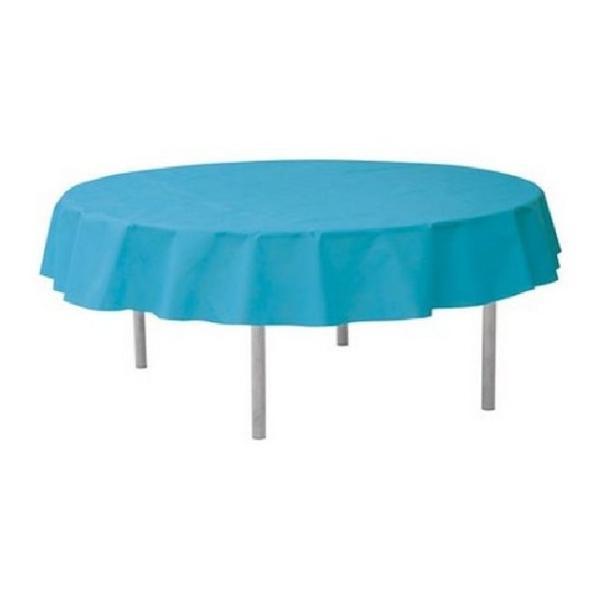 Nappe ronde intissé turquoise 240cm - Photo n°1