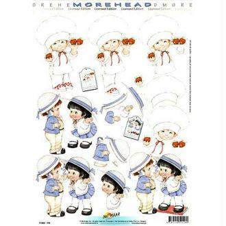 Carte 3D - Pâtissier et couple d'enfants 21 x 29,7 cm
