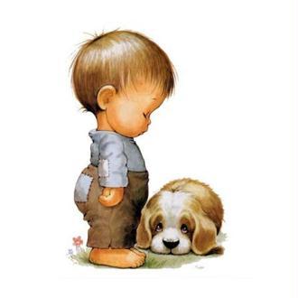 Image 3D Enfant - Garçon et chiot 24 x 30 cm