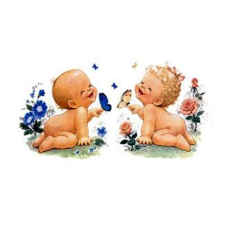Image 3D Enfant - Bébés rieurs et papillons 24 x 30 cm