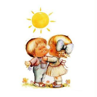 Image 3D Enfant - Couple d'enfants au soleil 24 x 30 cm