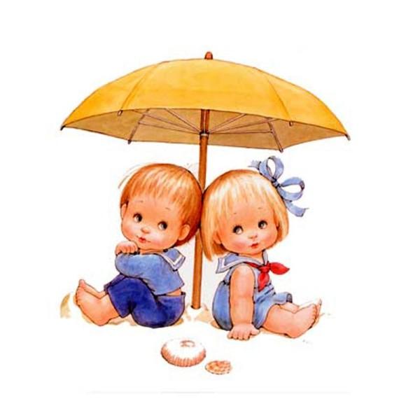 Image 3D Enfant - Couple d'enfants sous le parasol 24 x 30 cm - Photo n°1