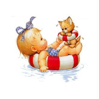 Image 3D Enfant - Fillette et chaton à la piscine 24 x 30 cm