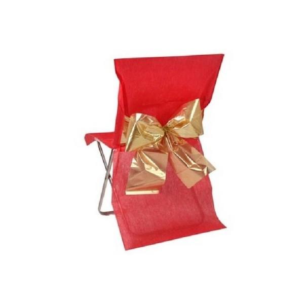Housse de chaise mariage intissée rouge avec noeud or x4