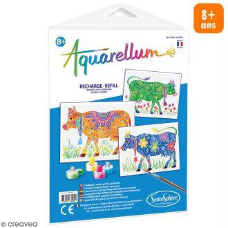 Recharge Tableau à peindre Aquarellum Vaches - 3 dessins