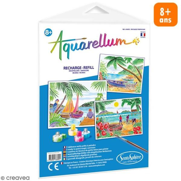 Recharge Tableau à peindre Aquarellum Paysages Tropicaux - 3 dessins - Photo n°1