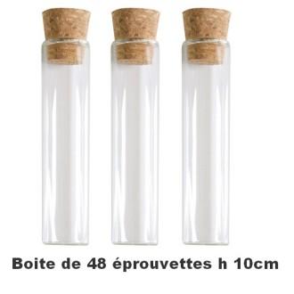 48 Eprouvettes en verre 10cm avec bouchon liège
