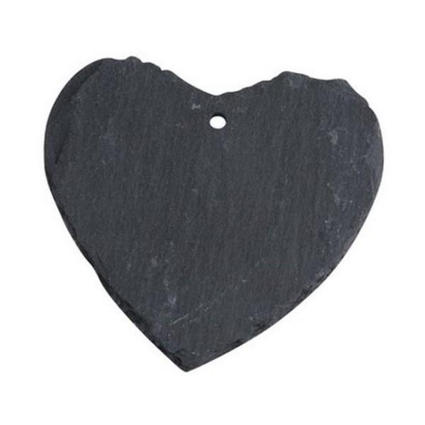 Marque place porte nom étiquette coeur en ardoise véritable Lot de 3 - Photo n°1