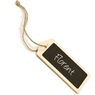 Marque place porte nom étiquette en bois naturel et ardoise x 6