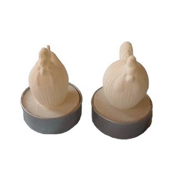 Lot de deux bougies chauffe plat poule et coq - Photo n°1