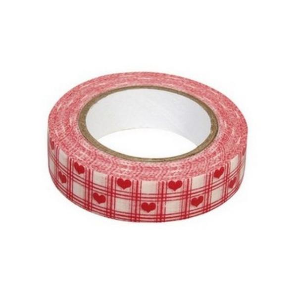 Washi tape blanc à coeurs et carreaux rouges - Photo n°1