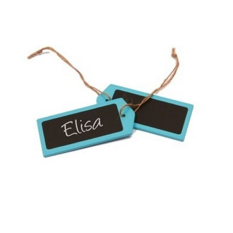 Marque place porte nom étiquette en bois turquoise et ardoise x4