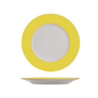 Assiette à dessert blanche à bord jaune