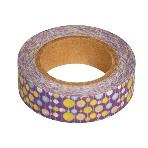 Washi tape violet à pois blanc, jaune et bleu - Photo n°1
