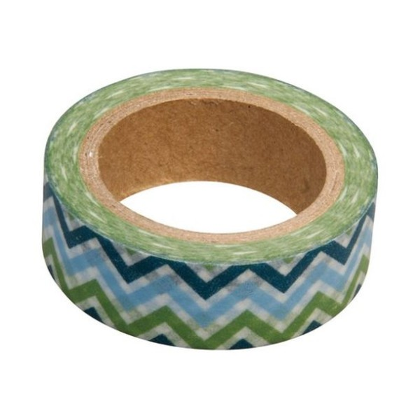 Washi tape blanc zig zag bleu et vert - Photo n°1