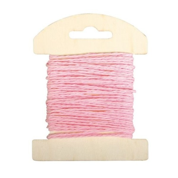 Cordon de papier rose clair bobine de 10mètres - Photo n°1
