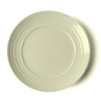 Assiette plate ronde écrue striée