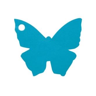 Etiquette porte nom papillon turquoise x10
