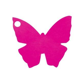 Etiquette porte nom papillon fuschia x10
