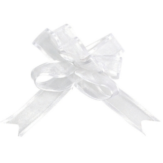 Mini noeud Organdi blanc x5