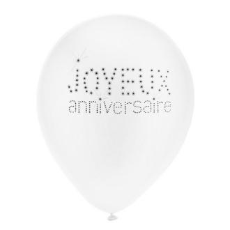 Ballon joyeux anniversaire blanc x8