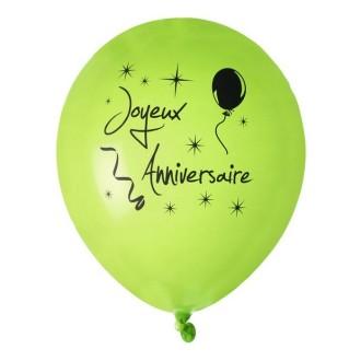Ballon joyeux anniversaire Vert anis x 8