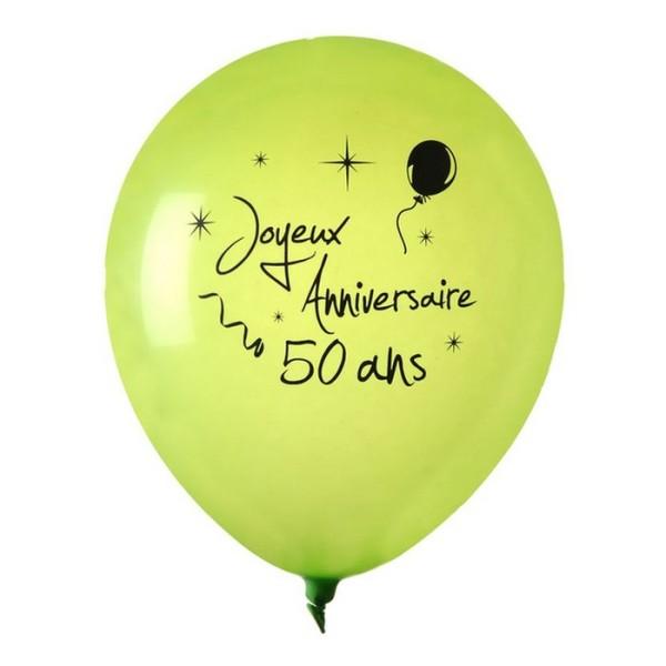 Ballon Joyeux Anniversaire Vert Anis 50 Ans X 8 Decoration De