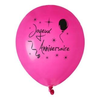 Ballon joyeux anniversaire Fuschia x 8